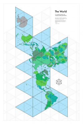 Icosahedral World Map with Triangular Tessellations.png